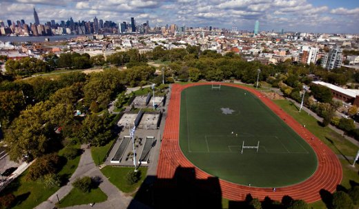 McCarren Park mixed use field in Williamsburg with Mondo track for runners