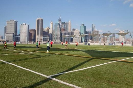 New turf fields in Brooklyn Bridge Park in Dumbo